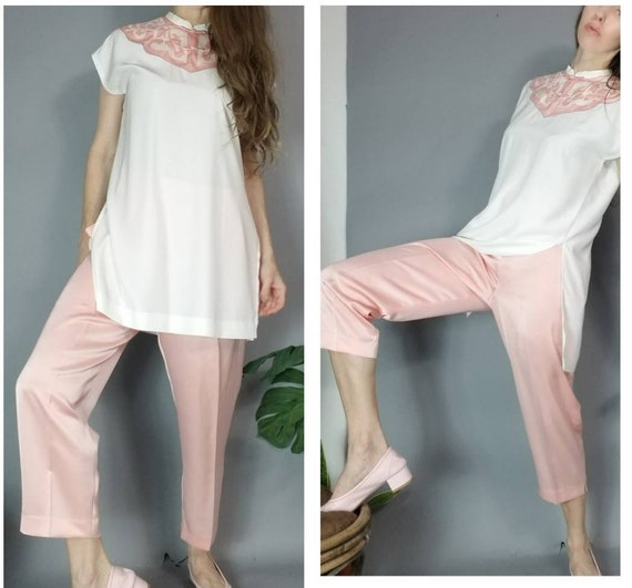 Vintage 90s Dreamy Pastel Asian Tunic and Silky P… - image 5