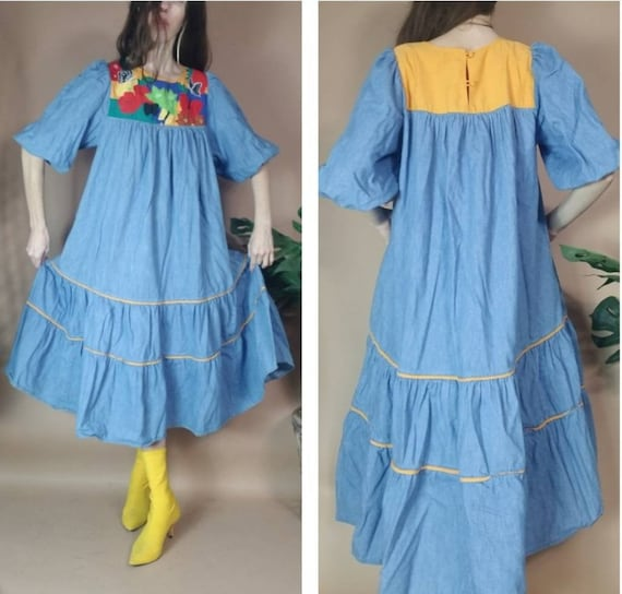 Vintage 80s Dress Puff Sleeve Sack Dress Tropical