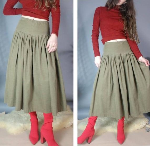 Vintage 80s Norma Kamali Skirt Drab Corduroy Desig