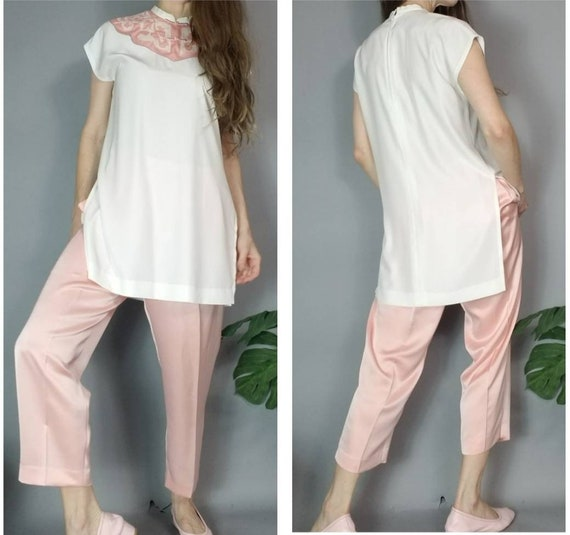 Vintage 90s Dreamy Pastel Asian Tunic and Silky P… - image 4