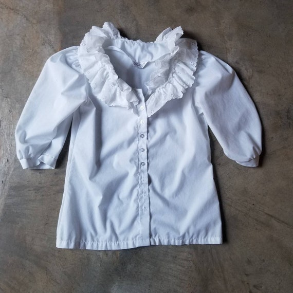 Vintage 80s Puff Sleeve Ruffle White Blouse m - image 6