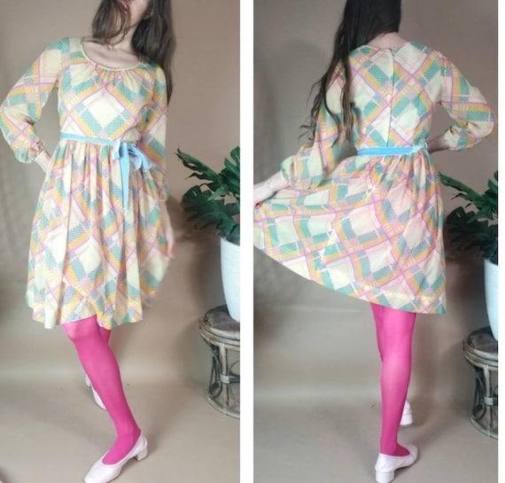 Vintage 60s 70s Dress Pastel Geometric Abstract Pl
