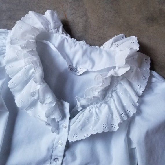 Vintage 80s Puff Sleeve Ruffle White Blouse m - image 8