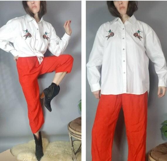 Vintage 90s White Cotton Blouse Stallion Cactus Ri