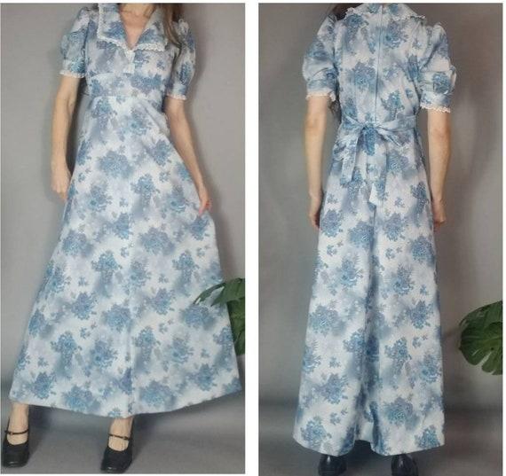 Vintage 70s Puff Sleeve Dress Short Sleeve Floral