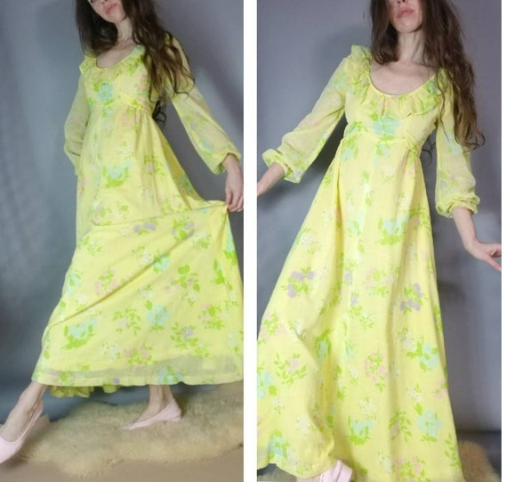 Vintage 70s Hippie Dress Yellow Floral Prairie Max