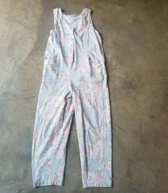 Vintage 80s 90s Laura Ashley Jumpsuit Pale Floral… - image 6