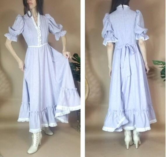 Vintage 70s 80s Puff Sleeve Prairie Dress s m