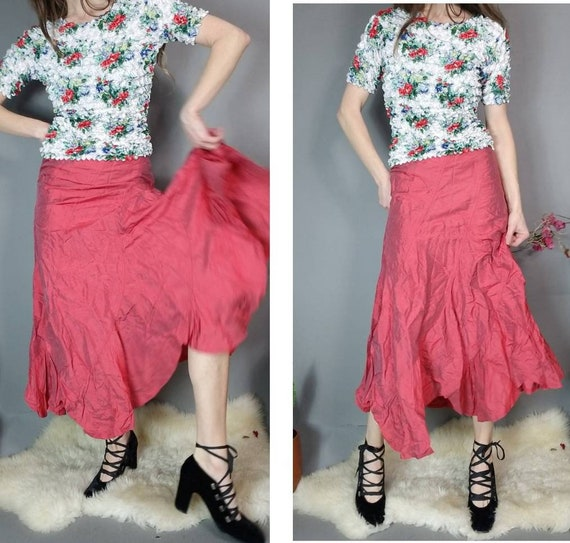 Vintage 90s y2k Skirt Candy Apple Red Silk Ruffle
