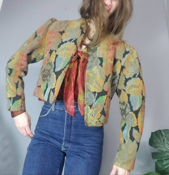 Vintage Tapestry Jacket 80s Floral Embroidered Jac