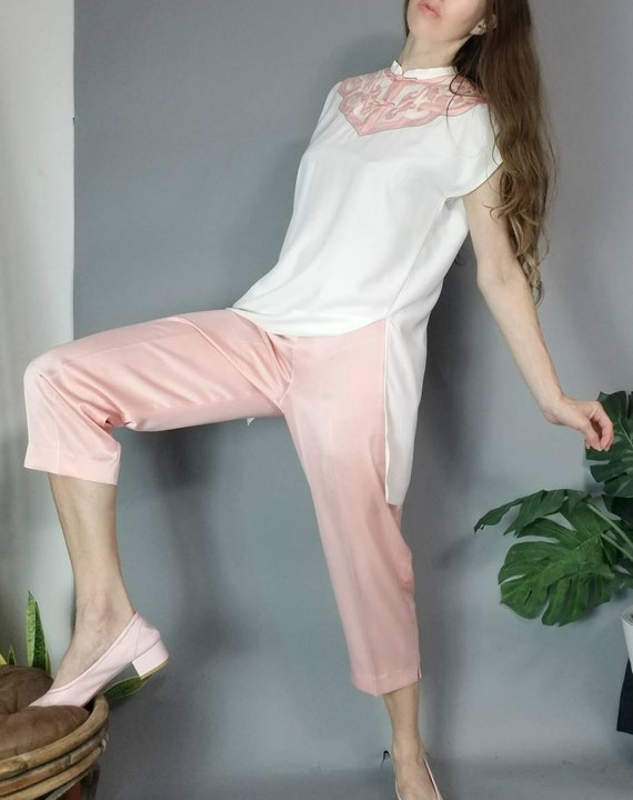 Vintage 90s Dreamy Pastel Asian Tunic and Silky P… - image 2