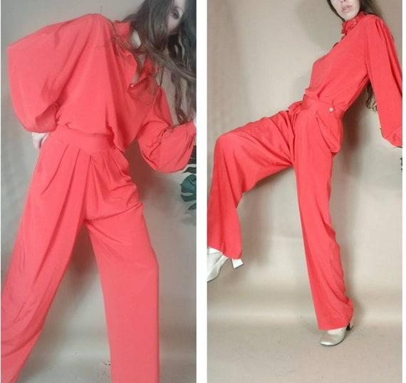 Vintage 80s Set Matching Blouse + Pant Suit Ensemb