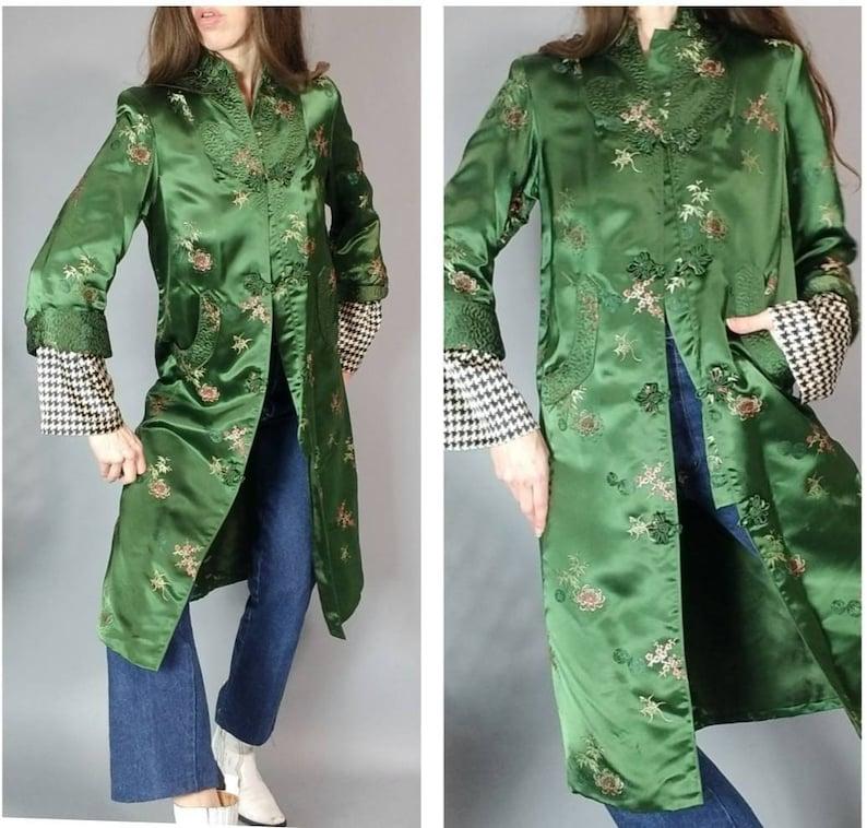 Vintage Asian Jacket Robe Duster Coat Lush Green s