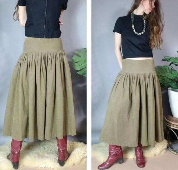 Vintage 80s Norma Kamali Skirt Drab Corduroy Desi… - image 5
