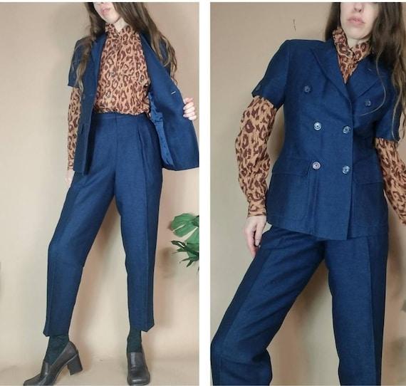 Vintage 80s 90s Pant Suit Short Sleeve Petite Trou