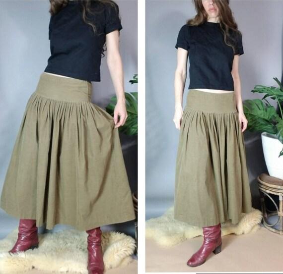 Vintage 80s Norma Kamali Skirt Drab Corduroy Desi… - image 3