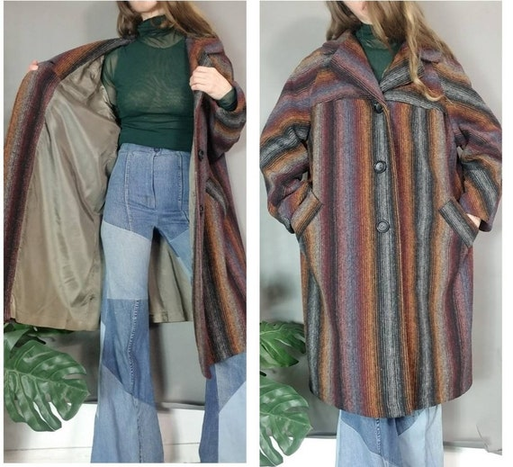 Vintage Coat Blanket Coat of Many Colors 80s s m l