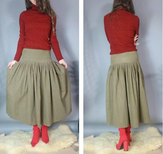 Vintage 80s Norma Kamali Skirt Drab Corduroy Desi… - image 2