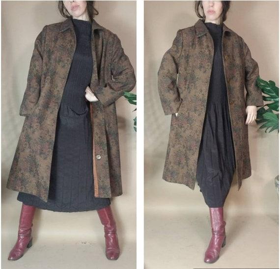 Vintage 90s Coat Tapestry Floral Earthy Brown Coat