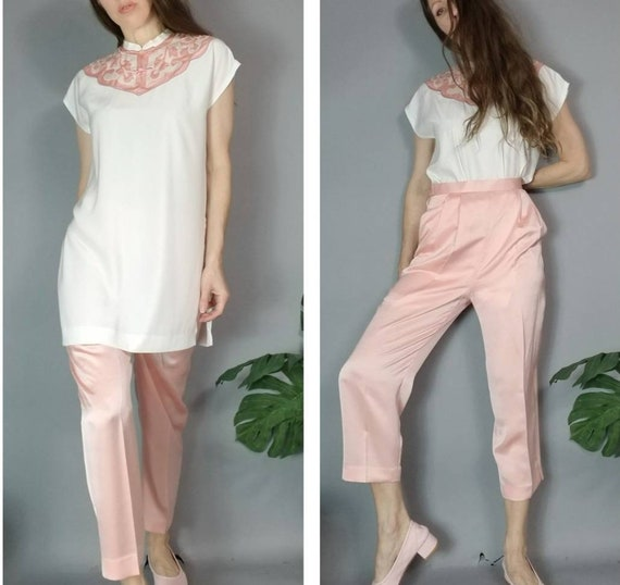 Vintage 90s Dreamy Pastel Asian Tunic and Silky P… - image 1