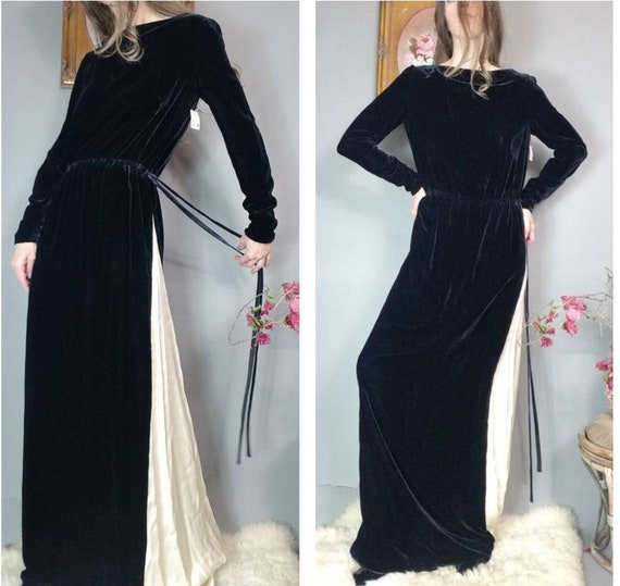 Vintage Bill Blass Dress Black Velvet Long Satin C