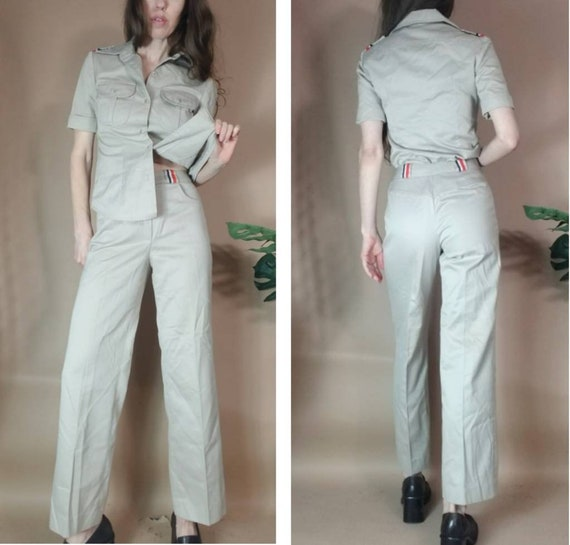 Vintage 80s 90s Pant Suit Jones New York Khaki To… - image 2