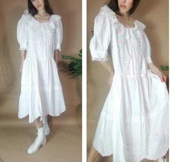Vintage 80s Dress White Edwardian Revival Puff Sle