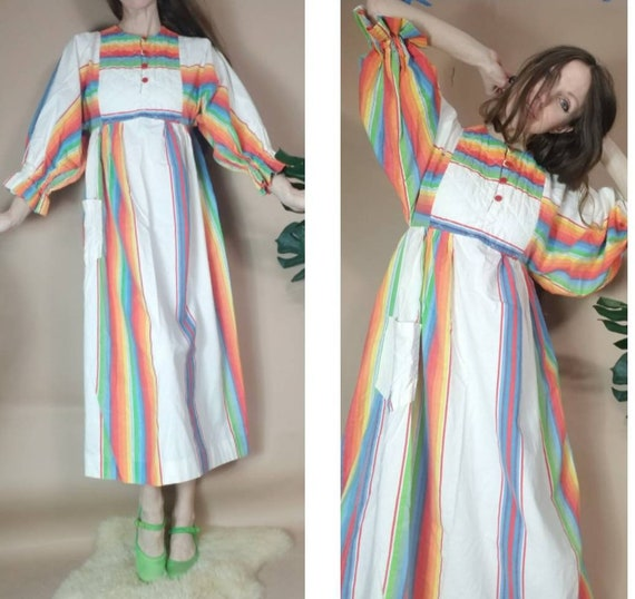 Vintage 70s Dress Rainbow Boho Hippie Balloon Slee