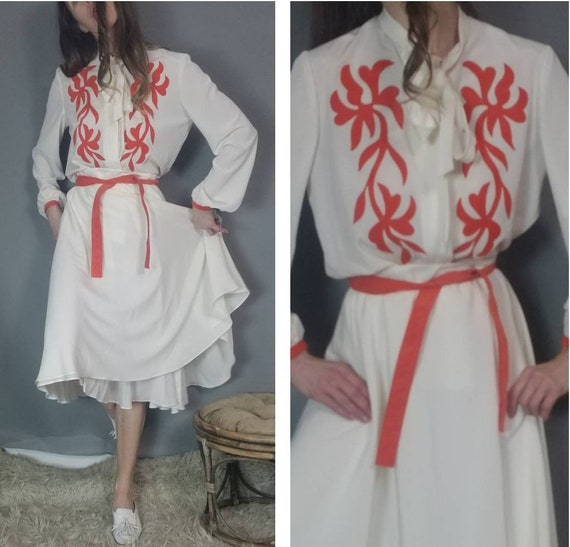 Vintage 70s Two Piece Matching Blouse Skirt Set