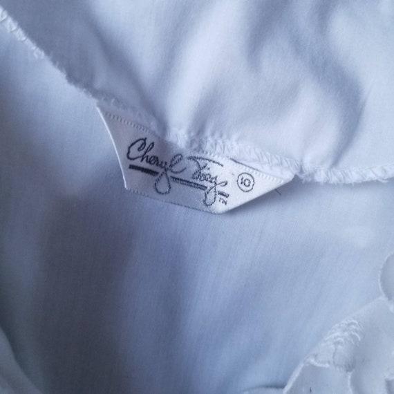 Vintage 80s Puff Sleeve Ruffle White Blouse m - image 9