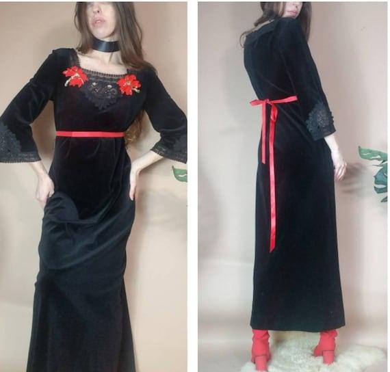 Vintage 60s 70s Dress Witchy Velvet Bohemian Hippi