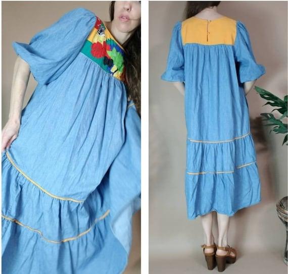 Vintage 80s Dress Puff Sleeve Sack Dress s m