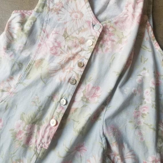 Vintage 80s 90s Laura Ashley Jumpsuit Pale Floral… - image 10