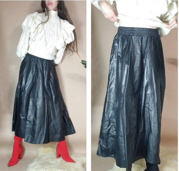 Vintage 80s Leather Skirt Black Leather Aline Circ