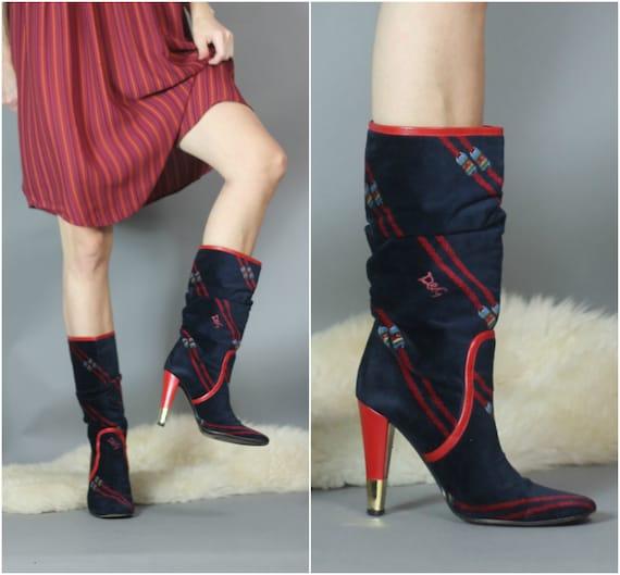 Vintage 80s 90s D&G Boots Designer Velvety Luxe Lo