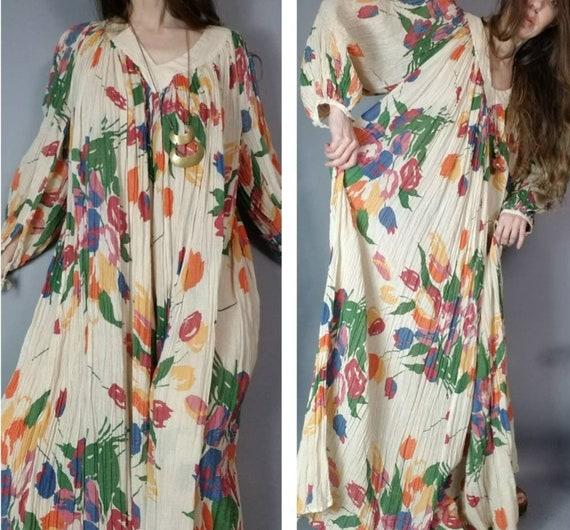 Vintage 70s Hippie Dress Amerikan Climax Cotton Ga
