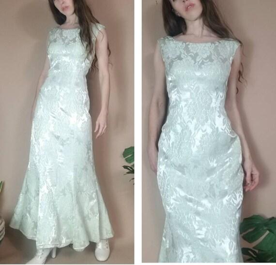 Vintage 60s Brocade Dress Pastel Pale Mint Green M