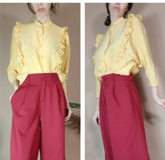 Vintage 80s Silk Blouse Yellow Blouse Dolman Sleev