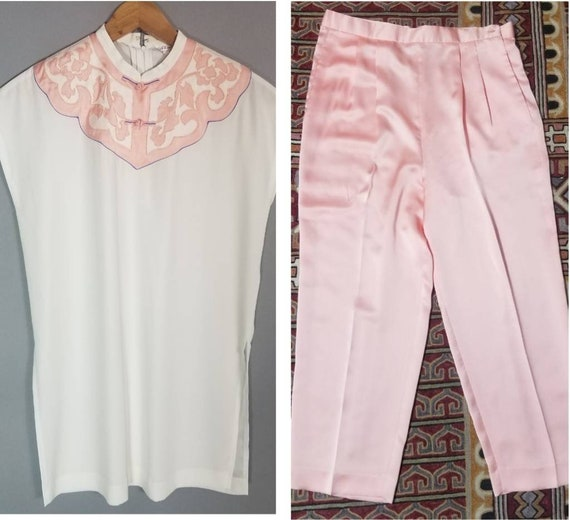 Vintage 90s Dreamy Pastel Asian Tunic and Silky P… - image 7