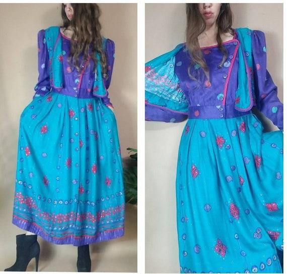 Vintage 80s 90s Jeanne Marc Dress Folkloric Boho C
