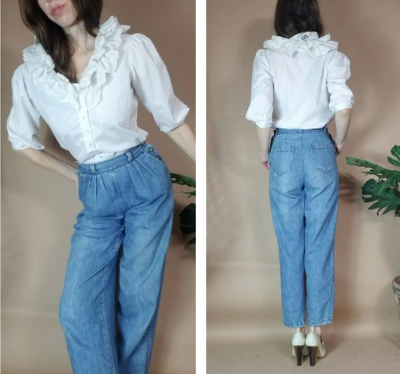 Vintage 80s Puff Sleeve Ruffle White Blouse m - image 5