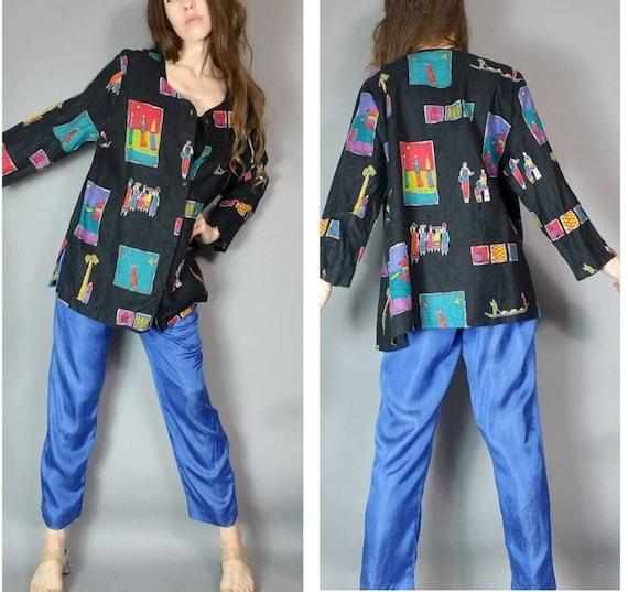 Vintage 90s Jacket Women Art to Wear m l xl