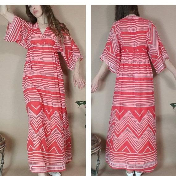 Vintage 70s Hippie Bohemian Dress Red Stripes Chev