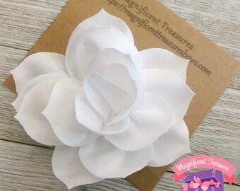 White flower clip etsy white lotus flower hair clip large white flower hair bow 35 toddler flower barrette white flower clip flower girl hair bow mightylinksfo