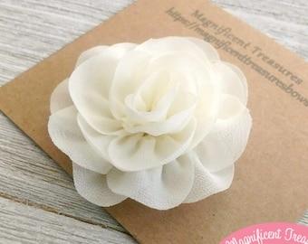 814484c120140 Ivory Chiffon Flower Hair Clip - Off White Chiffon Blossom Hair Bow - Cream Flower  Hair Clippies - Baptism Flower - Flower Girl Clip