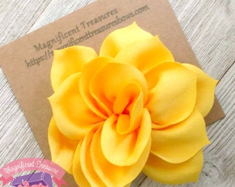 Yellow flowers etsy yellow lotus flower hair clip large yellow flower hair bow 35 toddler flower barrette yellow flower clip summer flower hair clip mightylinksfo