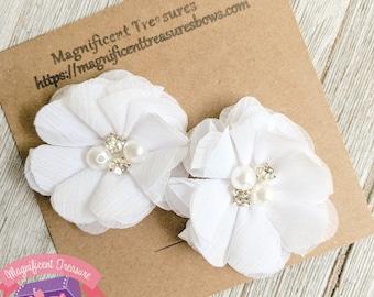 White hair flower etsy white chiffon flower hair clips white flower hair clippies flower girl hair clips rhinestone and pearl flowers white flower mightylinksfo