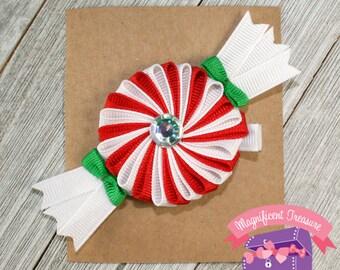 Girls Shaker Hair Bow Peppermint Candy