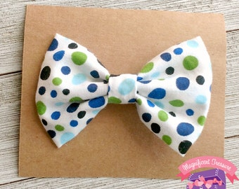 White Green and Blue Polka Dot Baby Bow Tie - Clip On Baby Bow Tie - Boy Bow Tie - 3 Inch White Bow Tie - 3 Inch Girl Fabric Hair Bow