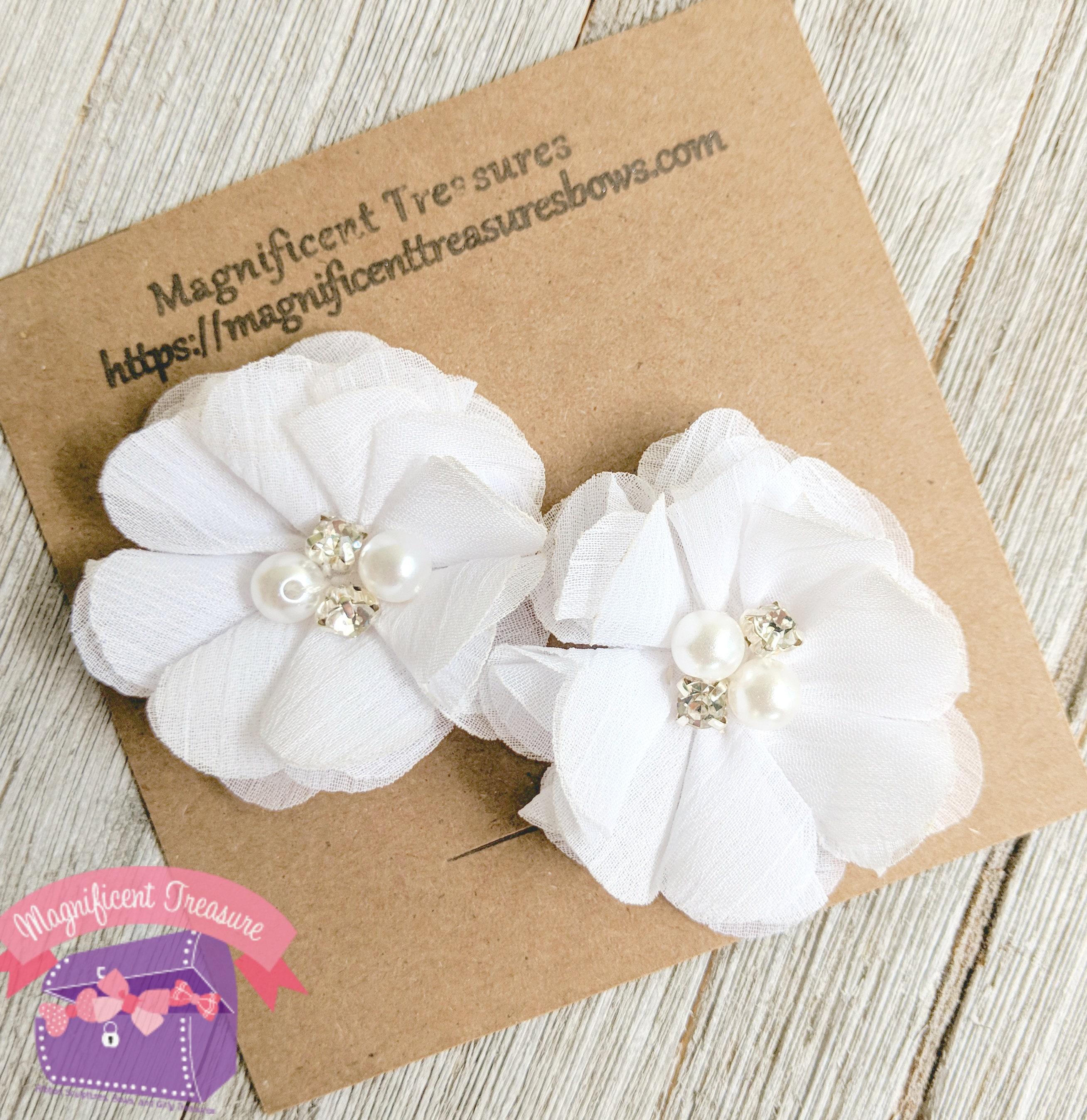 White Chiffon Flower Hair Clips White Flower Hair Clippies Etsy